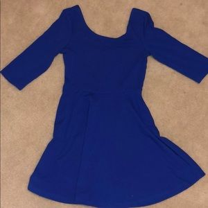 Blue 3/4 sleeve skater dress from express